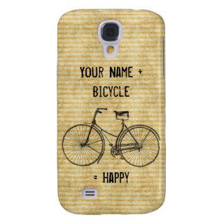 Usted más la bicicleta iguala amarillo feliz de la funda para galaxy s4