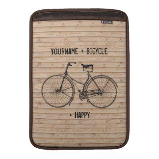Usted más la bicicleta iguala beige de madera anti fundas MacBook