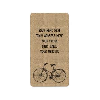 Usted más la bicicleta iguala el saco natural feli etiquetas de dirección