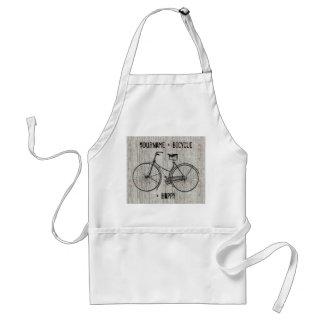 Usted más la bicicleta iguala el tablón de madera  delantal