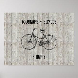 Usted más la bicicleta iguala el tablón de madera  poster