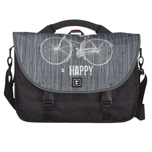 Usted más la bicicleta iguala gris de madera antig bolsas para portatil