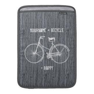 Usted más la bicicleta iguala gris de madera antig funda para macbook air