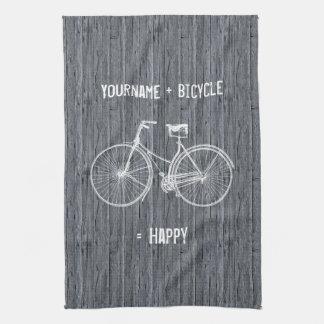 Usted más la bicicleta iguala gris de madera antig toalla