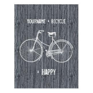 Usted más la bicicleta iguala gris de madera antig tarjetas postales