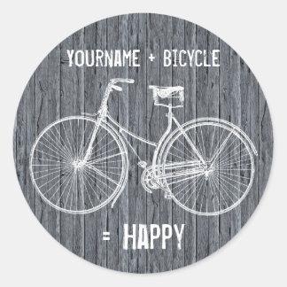 Usted más la bicicleta iguala gris de madera pegatina redonda