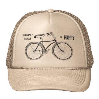 Usted más la bicicleta iguala la bici feliz de las gorro