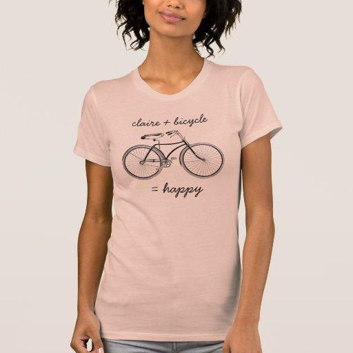 Usted más la bicicleta iguala la bici feliz de las camiseta