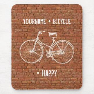 Usted más la bicicleta iguala ladrillos rojos anti tapete de ratón