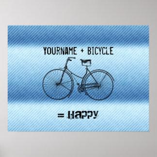 Usted más la bicicleta iguala las rayas antiguas f posters
