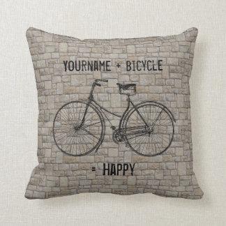 Usted más la bicicleta iguala los ladrillos antigu cojin