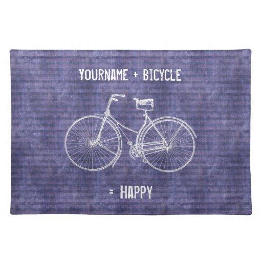 Usted más la bicicleta iguala púrpura antigua feli mantel individual