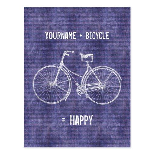Usted más la bicicleta iguala púrpura antigua feli postales