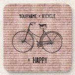 Usted más la bicicleta iguala rosa antiguo feliz d posavasos de bebidas