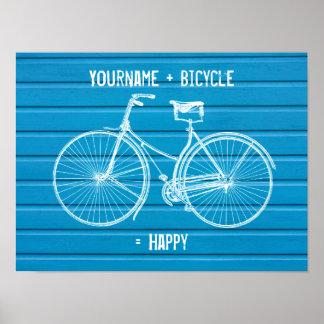 Usted más la bicicleta iguala tablones de madera a poster