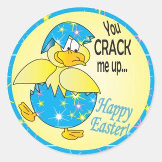 Usted me agrieta encima de Pascua Pegatina Redonda