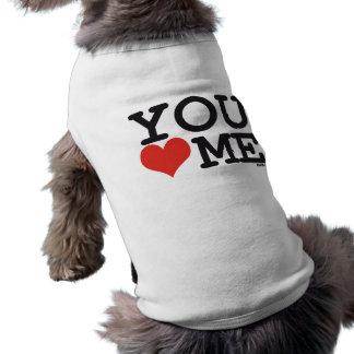 Usted me ama playera sin mangas para perro