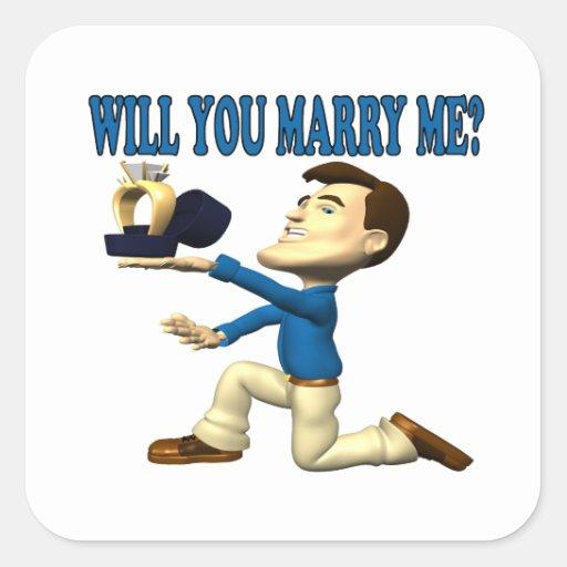 Usted me casará 8 pegatina cuadrada
