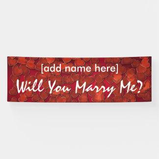 ¿Usted me casará? bandera de los corazones Lona