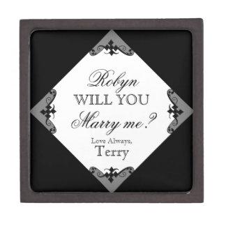 ¿Usted me casará? Caja de encargo del anillo para  Caja De Recuerdo De Calidad