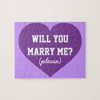 ¿Usted me casará? corazón púrpura Rompecabezas Con Fotos