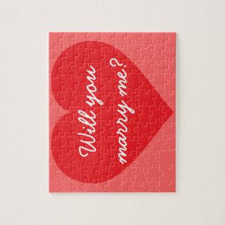 ¿Usted me casará? corazón rojo Puzzles Con Fotos