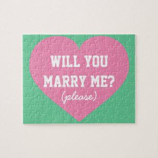 ¿Usted me casará? corazón rosado Rompecabeza