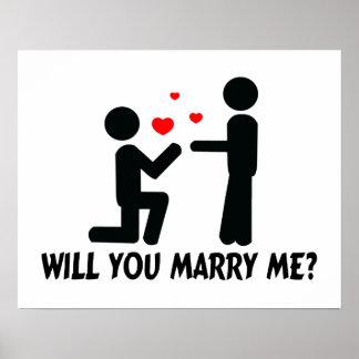 Usted me casará dobló el hombre de la rodilla y al posters
