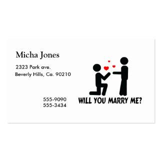 Usted me casará dobló el hombre de la rodilla y al plantillas de tarjeta de negocio