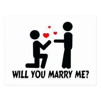 Usted me casará dobló el hombre de la rodilla y al postal