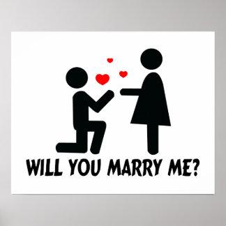 Usted me casará dobló el hombre y a la mujer de la posters