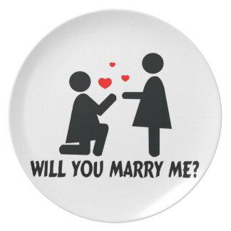 Usted me casará dobló la mujer de la rodilla y a l plato de cena