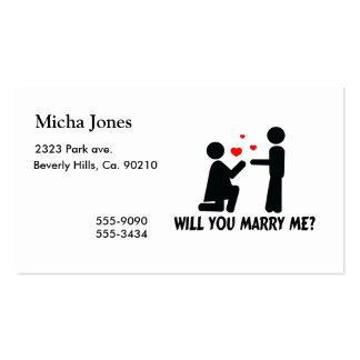 Usted me casará dobló la mujer y al hombre de la tarjetas de visita