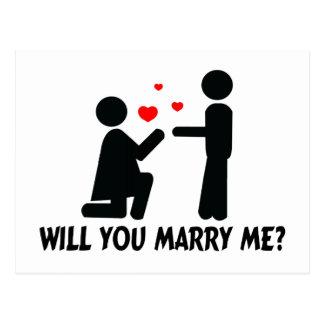 Usted me casará dobló la mujer y al hombre de la postal