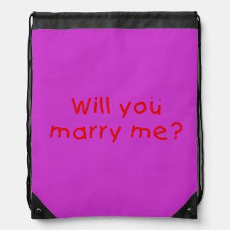¿Usted me casará? El botón de la taza empaqueta el Mochila