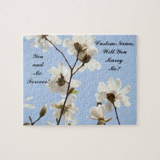 ¿Usted me casará? magnolias del azul del Puzzle Con Fotos