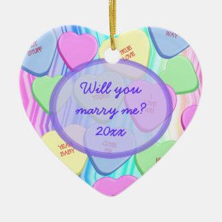 Usted me casará ornamento adaptable del recuerdo adorno navideño de cerámica en forma de corazón