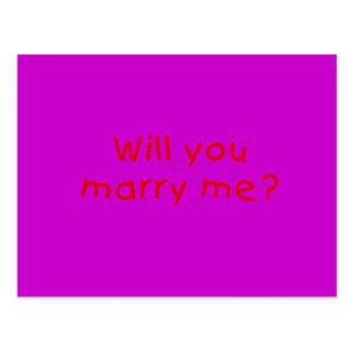 ¿Usted me casará? Pegatina del sello de la Postal