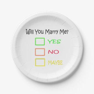 ¿Usted me casará? Plato De Papel De 7 Pulgadas