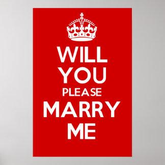 Usted me casará por favor (el rojo) póster