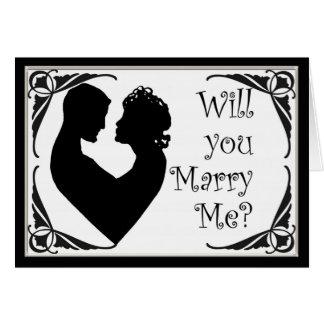 Usted me casará tarjeta blanco y negro del camafeo