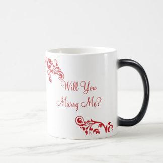 ¿Usted me casará? Taza ocultada del Flourish del m
