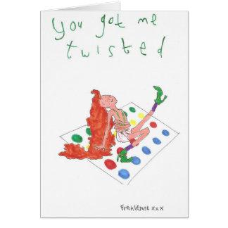 usted me consiguió torció tarjeta de felicitación