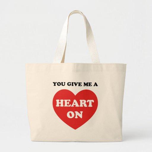 Usted me da un corazón encendido bolsa de mano