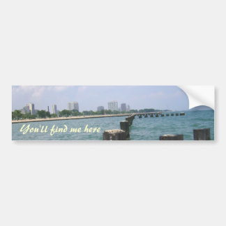 Usted me encontrará aquí en las orillas del lago pegatina de parachoque