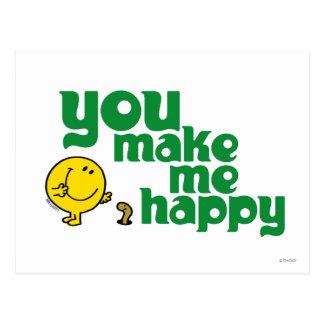 Usted me hace feliz postal