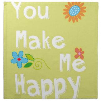 Usted me hace la tipografía feliz - verde lima servilletas de papel