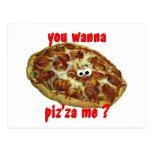 """""""usted me quiere al piz'za?"""" postal chistosa de la"""