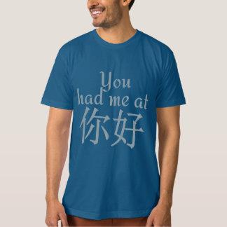 Usted me tenía en (chino hola) el camisetas y las polera