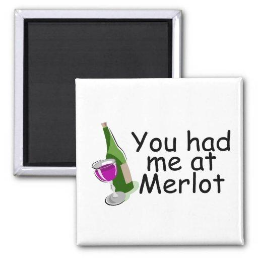Usted me tenía en el Merlot Imán Cuadrado